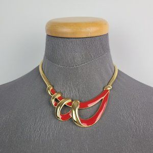 Vintage Trifari Gold Tone Red Collar Necklace